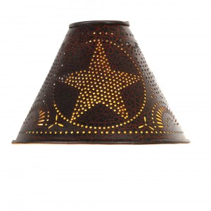 "2"" x 6"" x 4"" Star Lamp Shade - Crackle Black/Red"