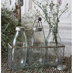 3 Milk Bottle Wire Tote