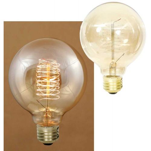 40 Watt Balloon Vintage Style Bulb with Spiral Filament