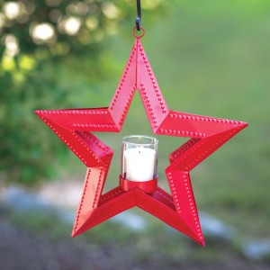5 Point Hanging Star Votive Holder - Red