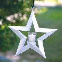 5 Point Hanging Star Votive Holder - White