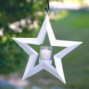5 Point Hanging Star Votive Holder - White