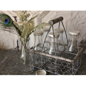 6-Milk Bottle Wire Tote