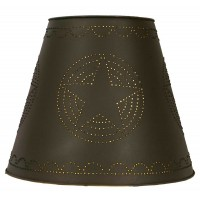 "8"" x 15"" x 12"" Tin Washer Top Lamp Shade - Rustic Brown Star"