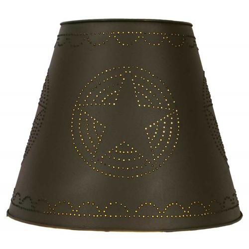 "8"" x 15"" x 12"" Tin Washer Top Lamp Shade - Rustic Brown Star"