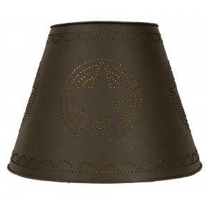 "9""x 17"" x 12"" Tin Washer Top Lamp Shade - Rustic Brown Star"