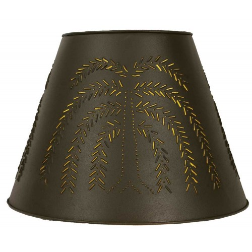 """9"""" x 17"""" x 12"""" Tin Washer Top Lamp Shade - Rustic Brown Willow"""