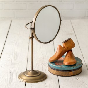 Adjustable Round Brass Table Mirror