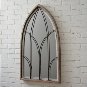 Arched Mirror with Wood Frame