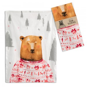 Bear in a Sweater Tea Towel