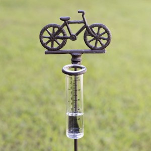 Bicycle Rain Gauge Garden Stake