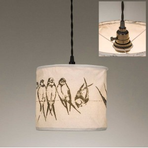 Birds on a Wire Canvas Pendant Light
