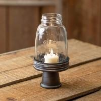 Black Mason Jar Chimney with Stand - Midget Pint