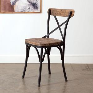 Black Metal Crossback Farm Chair with Dark Stain