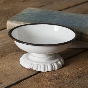 Black Trim Pedestal Dish