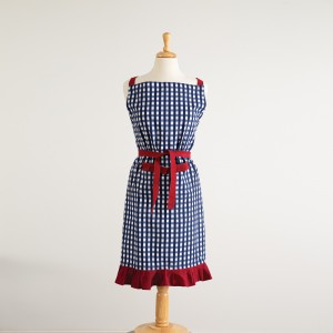 Blue and White Checkered Apron with Red Ruffle