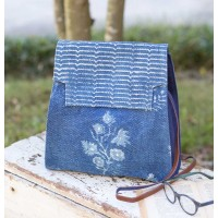 Blue Block Print Shoulder Bag