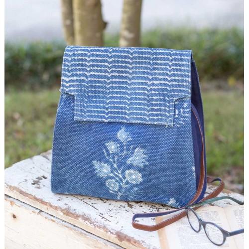 Blue Block Print Shoulder Bag