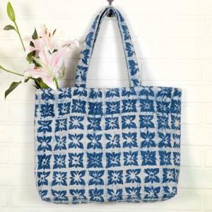 Blue Block Printed Bag