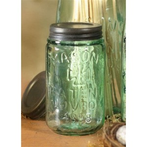 Blue Pint Mason Jar with Zinc Lid