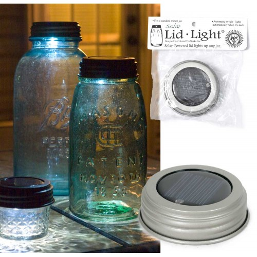 Mason Jar Solar Light Lid - Silver Finish