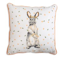 Bunny with Flowers Cotton Throw Pillow