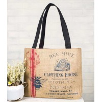 "Burlap ""Clothing House"" Tote"