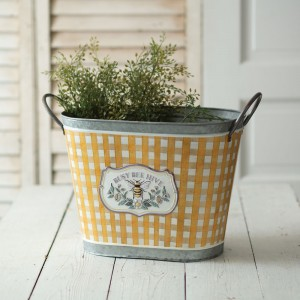 Busy Bee Hive Galvanized Bucket
