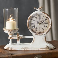 """Café Du Parc"" Candle holder and Clock"