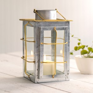 Caged Galvanized and Brass Trim Lantern