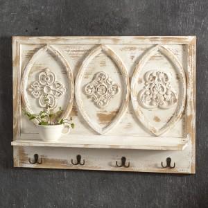 Carved Wood Shelf with Hooks