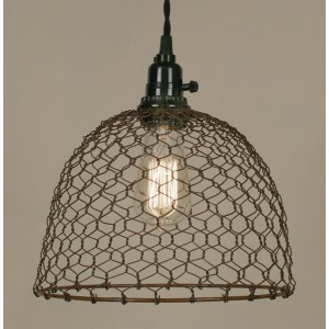 Chicken Wire Dome Pendant Light - Primitive Rust
