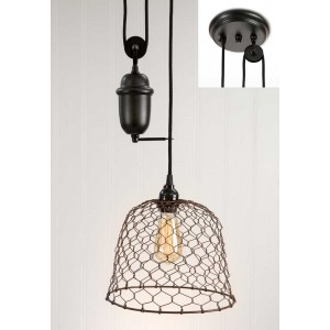 Chicken Wire Dome Pulldown Pendant Light