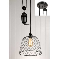 Chicken Wire Dome Pulldown Pendant Light - Barn Roof
