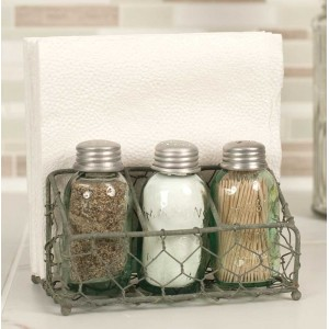 Chicken Wire Salt, Pepper, Toothpick and Napkin Caddy