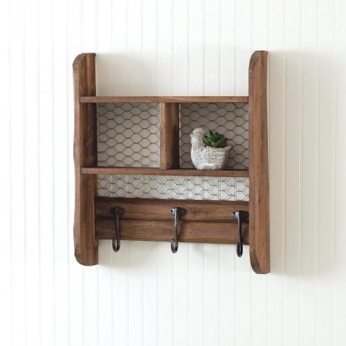Chicken Wire Wall Shelf with Hooks