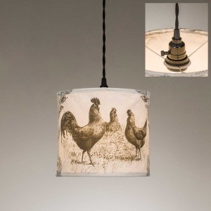 Chickens Canvas Pendant Light
