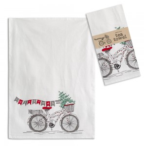 Christmas Bicycle Tea Towel