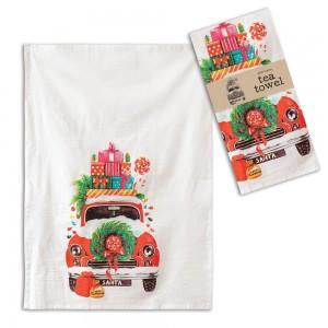 Christmas Car Tea Towel - Box of 4