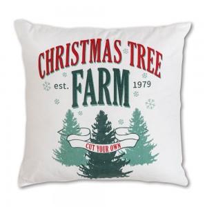 Christmas Tree Farm Cotton Throw Pillow