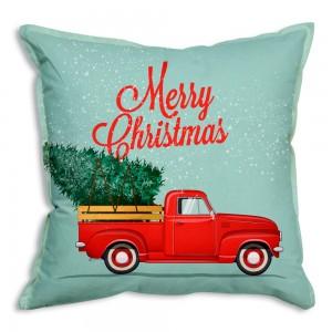 Christmas Truck Cotton Throw Pillow