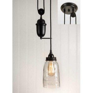 Clear Glass Half Gallon Mason Jar Pulldown Pendant Light