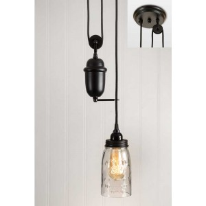 Clear Glass Quart Mason Jar Pulldown Pendant Light