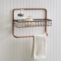 Copper Finish Bathroom Basket Shelf and Towel Bar