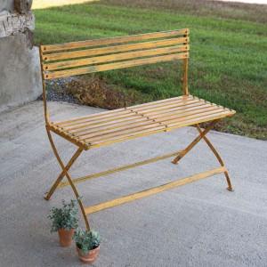 Distressed Yellow Iron Folding Bench