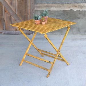 Distressed Yellow Iron Folding Table