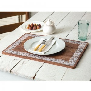 Doily Framed Wooden Placemat