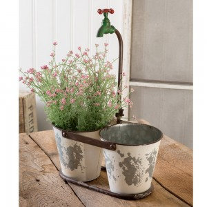 Double Bucket Faucet Planter
