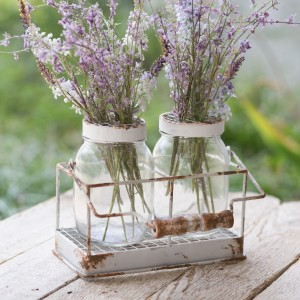 Double Flower Frog Jars with Caddy