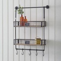 Double Shelf Organizer with Five Hooks